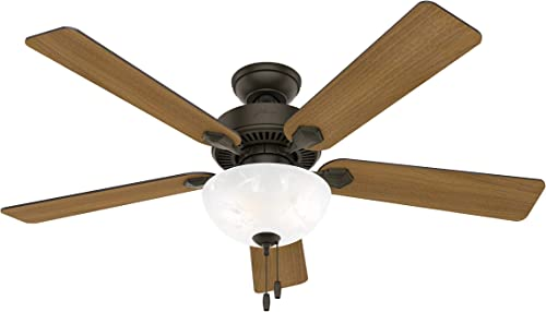 Hunter Swanson Indoor Ceiling Fan with LED Lights and Pull Chain Control, 52 , New Bronze