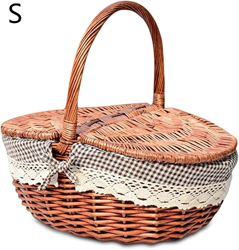 cheerfullus Handmade Wicker Picnic Basket Camping Shopping Storage Hamper with Double Lid and Handle Small,Coffee
