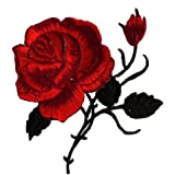 Mimgo Store Rose Flower Iron-On Embroidered Patch Applique Motif Garment Decoration Craft (5#)