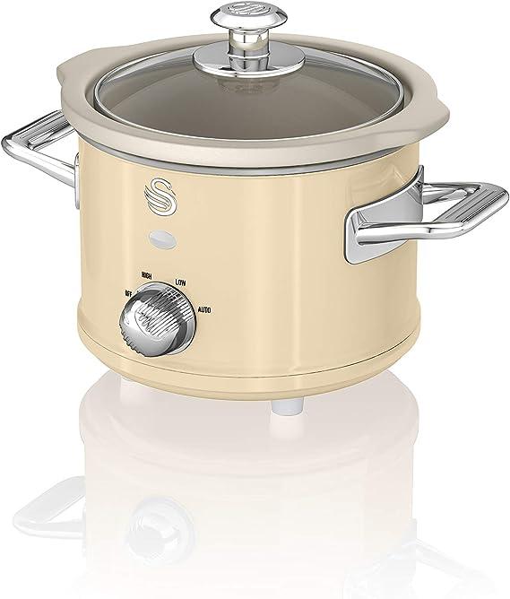 wan SF17011CN Olla de cocción lenta retro de 1.5 litros con olla de cerámica extraíble, 3 configuraciones de calor - Incluye libro de recetas, 120w: Amazon.es: Hogar