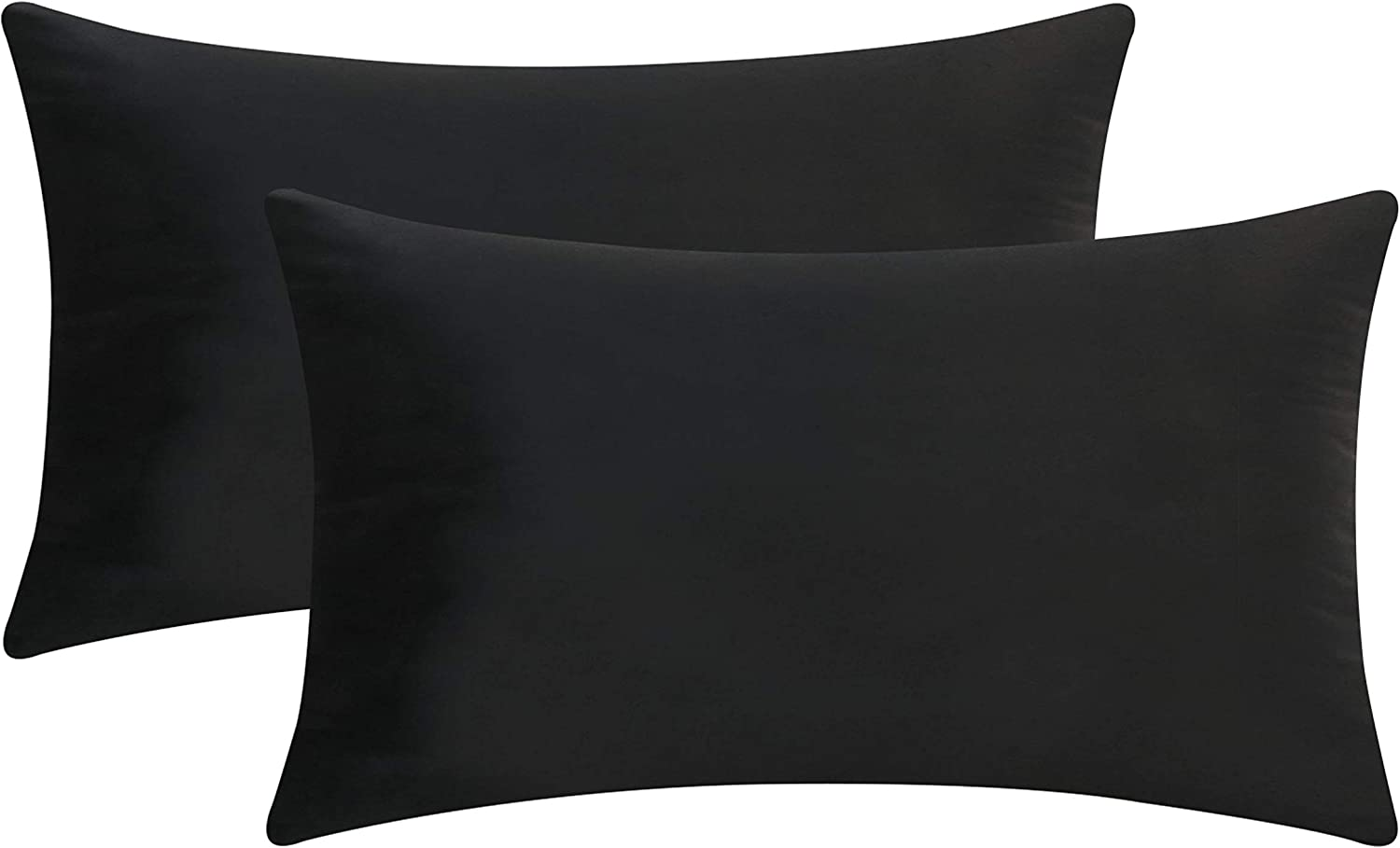 Home Brilliant Decorative Velvet Cushion Covers Accent Lumbar Pillow Covers for Car Toddler Neck Pain, Set of 2, 12x20 (30x50cm), Black