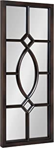 "Kate and Laurel Cassat Window Wall Accent Mirror, 13"" x 30"", Dark Bronze, Rustic Windowpane Inspired Wall Decor"