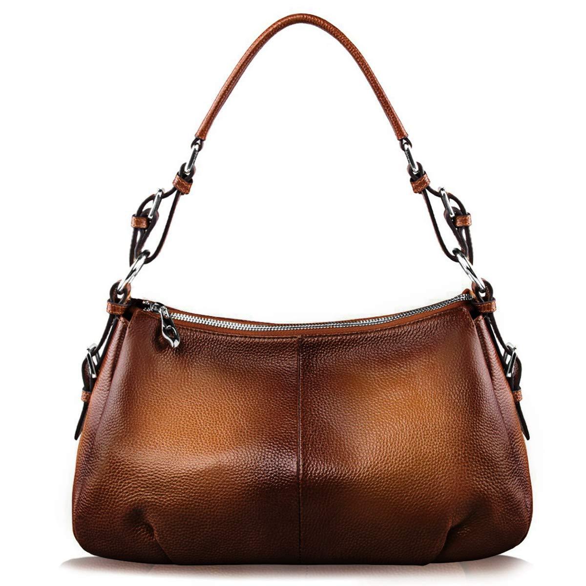 S-ZONE Womens Hobo Genuine Leather Shoulder Bag Top-handle Handbag Ladies Purses (Dark Brown)