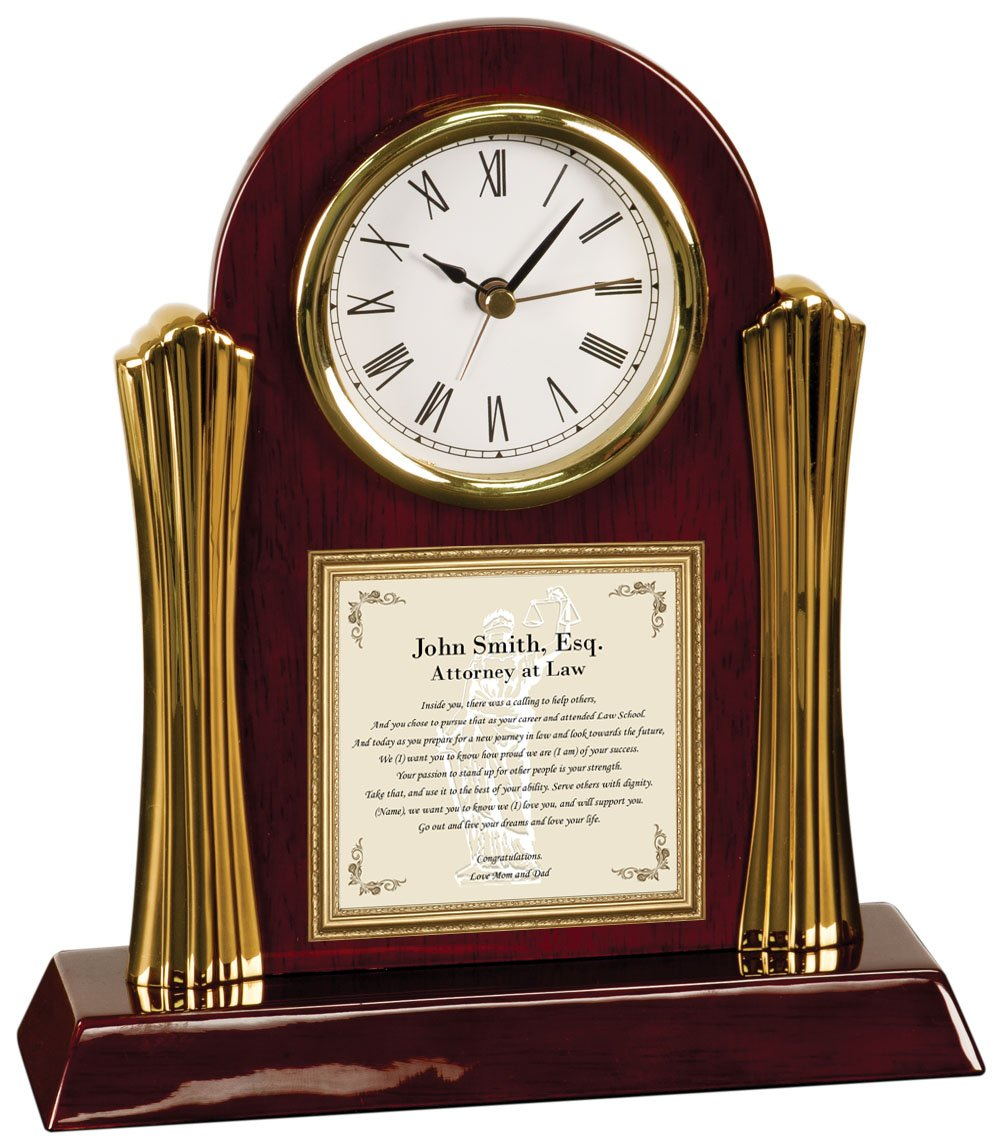Personalized Poetry Clock Gift for Lawyer or Law School Graduation Gifts for Attorney or Passing the Bar present Custom Poem Desk Clock for University College Law School Graduates
