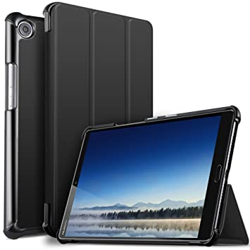 size 40 13f4a ccb37 IVSO Huawei MediaPad M5 8.4 Case, Ultra Slim light weight Case Cover for  Huawei MediaPad M5 8 8.4 inch Tablet 2018 Release, Black