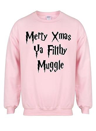merry xmas ya filthy muggle pink unisex fit sweater fun slogan jumper