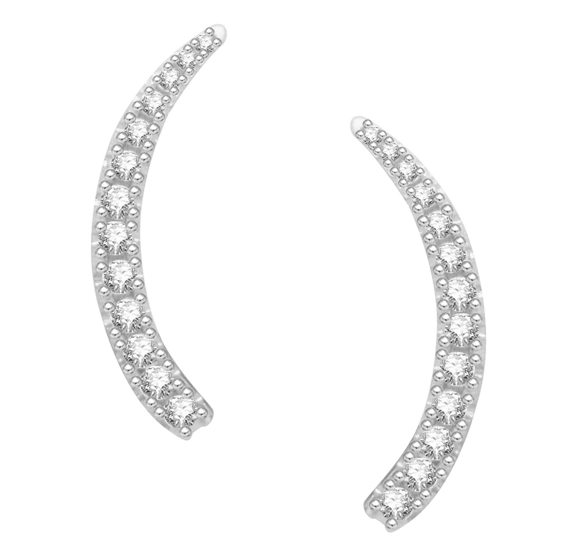 Sterling Silver White Cubic Zirconia Ear Climber Crawler Earrings 25mm