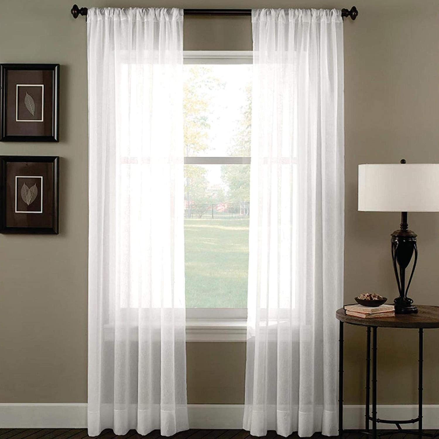 "FWD Rod Pocket Sheer Panel Curtain Drapery Fabric Window Treatment Bedroom, Living Room, Kitchen, Party Hall, Event Decor, Venues More (120"" inches Wide x 168"" inches Long) (White)"