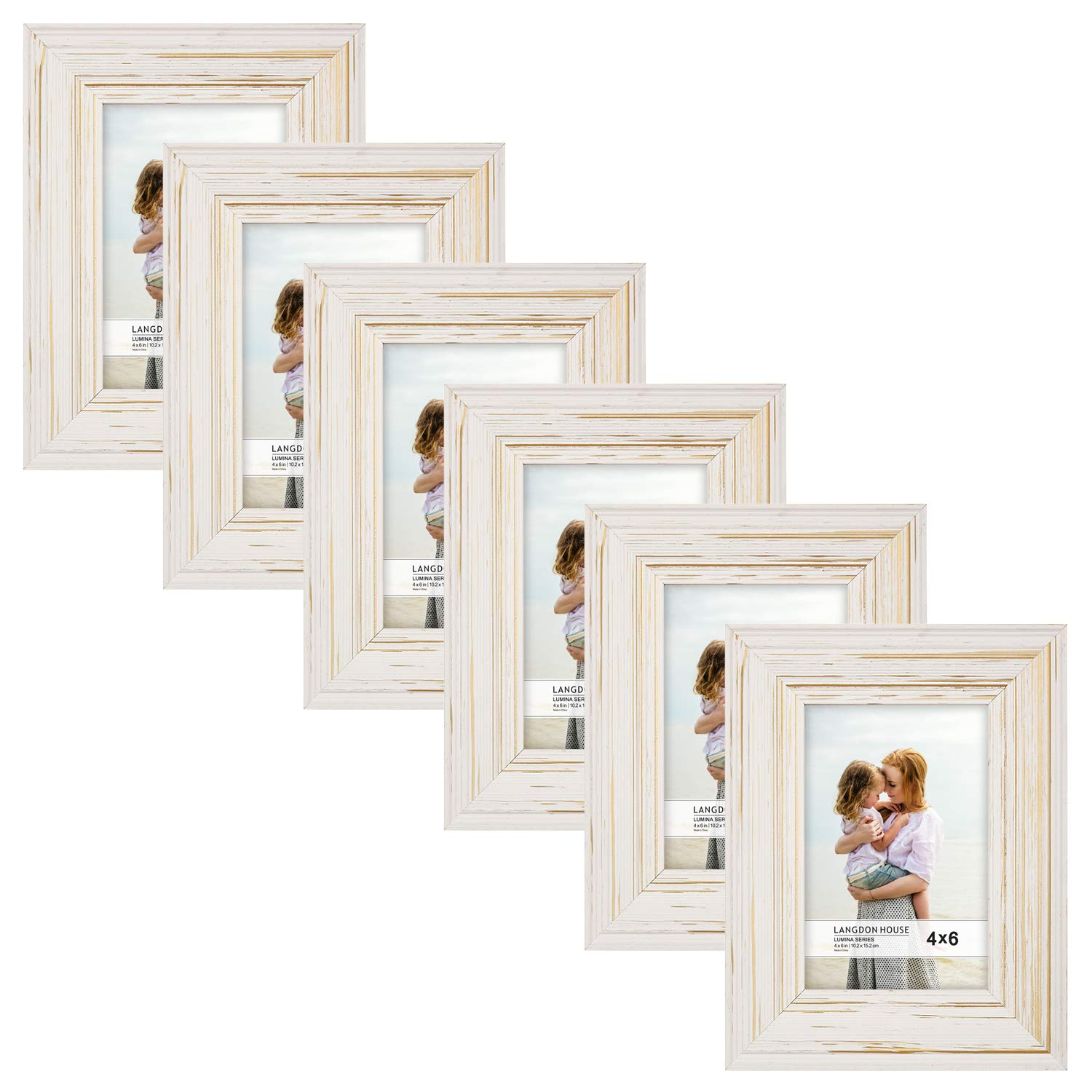 Langdon House 4x6 Real Wood Picture Frames (6 Pack, Weathered White - Gold Accents), White Wooden Photo Frame 4 x 6, Wall Mount or Table Top, Set of 6 Lumina Collection by Langdon House