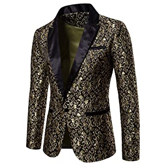 be4132c26d5 HLHN Men Suit Jacket Blazer Jacquard Coat Slim Fit Winter Formal Outwear  Casual Long Sleeve Collar Button Pockets  Amazon.co.uk  Clothing