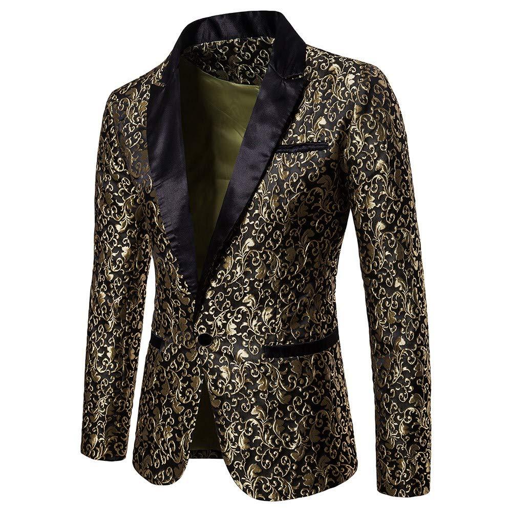 UJUNAOR Casual Charm Sweatshirt Men's One Button Fit Suit Blazer Coat Jacket Striped Top