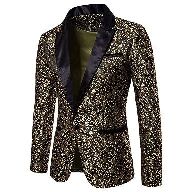 UJUNAOR Männer Gedruckt Blazer Mode EIN Knopf Anzug Mantel