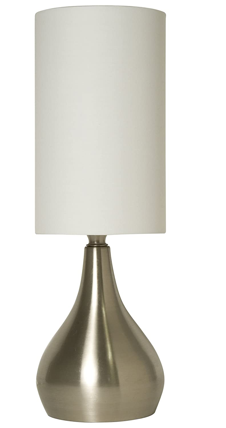 Light Accents Touch Table Lamp Modern 18 Inches Tall, 3 Stage Touch Dimmer  (Low, Bright, And Off) Feature And White Fabric Drumshade     Amazon.com