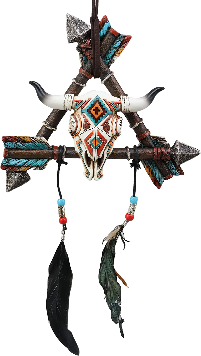 Ebros Native American Indian White Lightning Sacred Buffalo with 3 Arrows Dreamcatcher with Beaded Feathers Wall Hanging Decor Dream Catcher Decoration Ornament Hanger for Home and Office