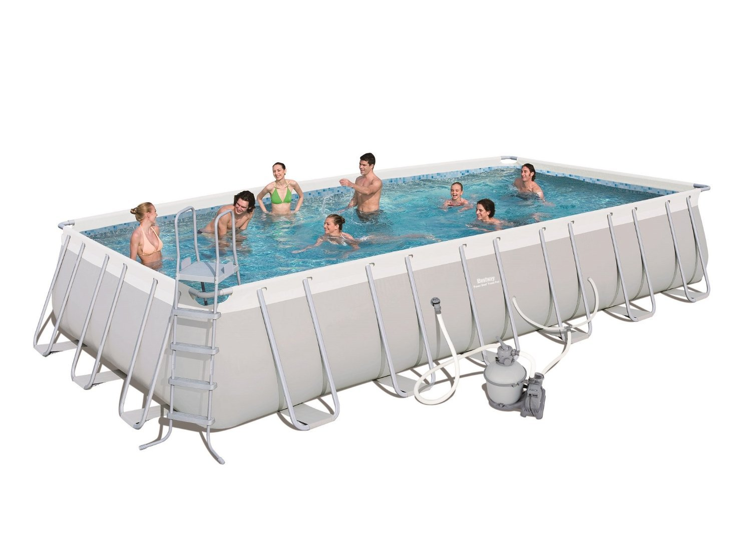 Bestway 56477E Power Steel Rectangular Frame Pool Set, 24\' x 12\' x 52\