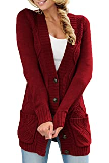 6f555a65d3 Uniarmoire Women Long Sleeve Pocket Knit Cardigans Button Cable Sweater Coat