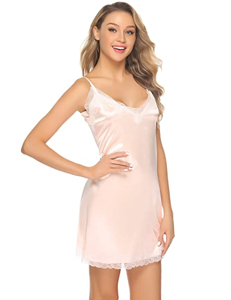 297a9d780e Aibrou Sleepwear Womens Satin Chemise Nightgown Sexy Full Slip Lace Lounge  Dress Apricot S