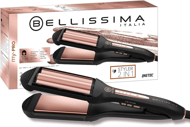Imetec Bellissima My Pro 2 en 1 Straight&Waves B29 100 - Plancha de pelo Formato XL, liso y ondulado Beach Waves, revestimiento en cerámica, 4 niveles de temperatura de 150°C hasta 210°C