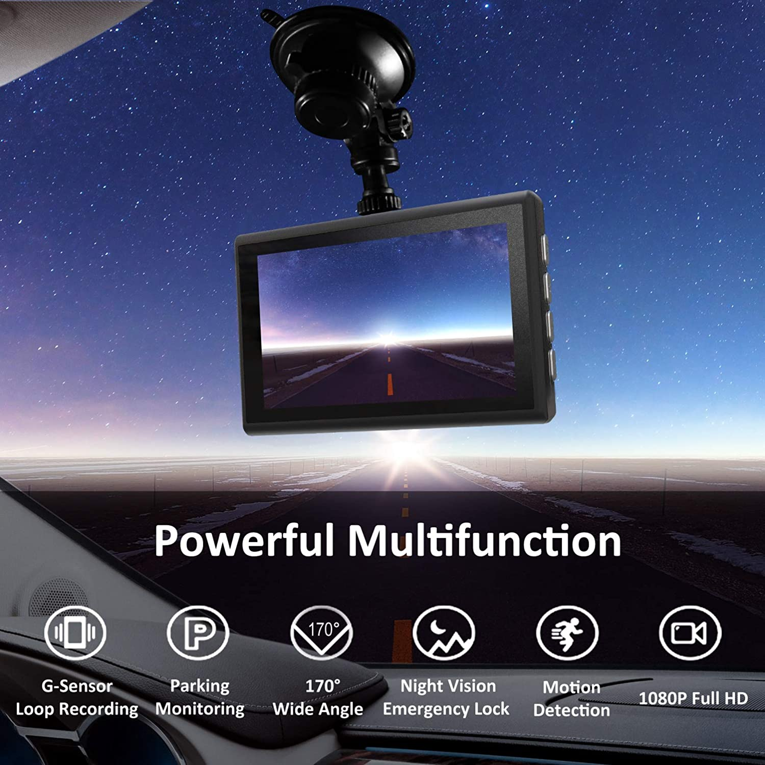 Dash Cam 1080P FHD 3 Inch IPS Screen Metal Shell Dash Camera for Cars,Car DVR Dashboard Recorder Super Night Vision,170/°Wide Angle,WDR,G-Sensor,Loop Recording,Motion Detection,Parking Monitor