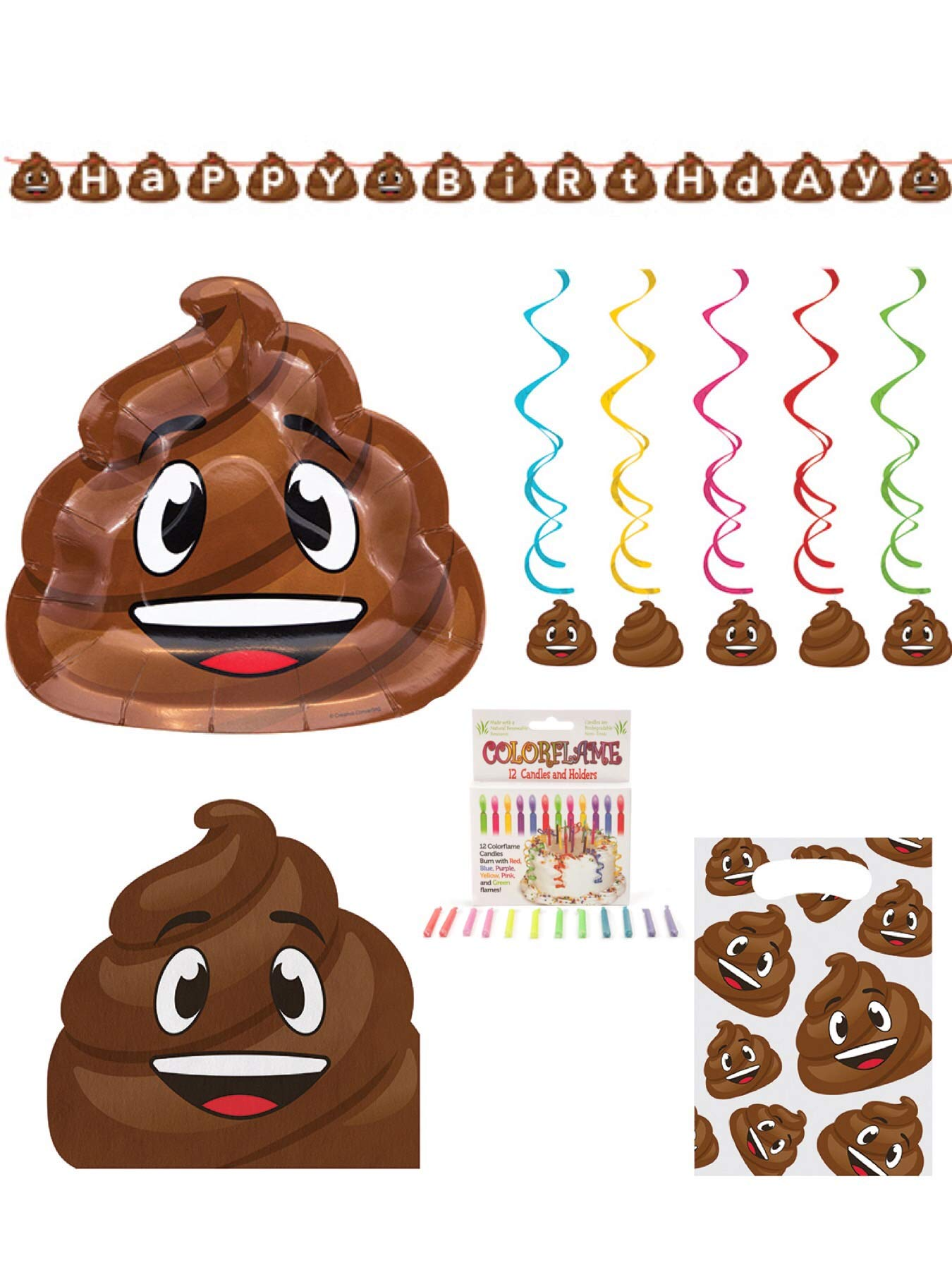 Olive Occasions Crap Poop Happy Birthday Disposable Paper Party Supplies 16 Plates, 16 Napkins, Banner, Dizzy Danglers, Loots Bags, 12 Candles