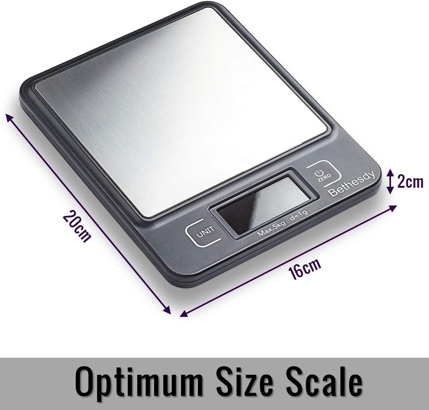 electr/ónicas con funci/ón de Tara 5000 g retroiluminada LCD para el hogar la Oficina y la Cocina Bethesdy B/ásculas Digitales de Cocina para Alimentos Delgadas de Alta precisi/ón