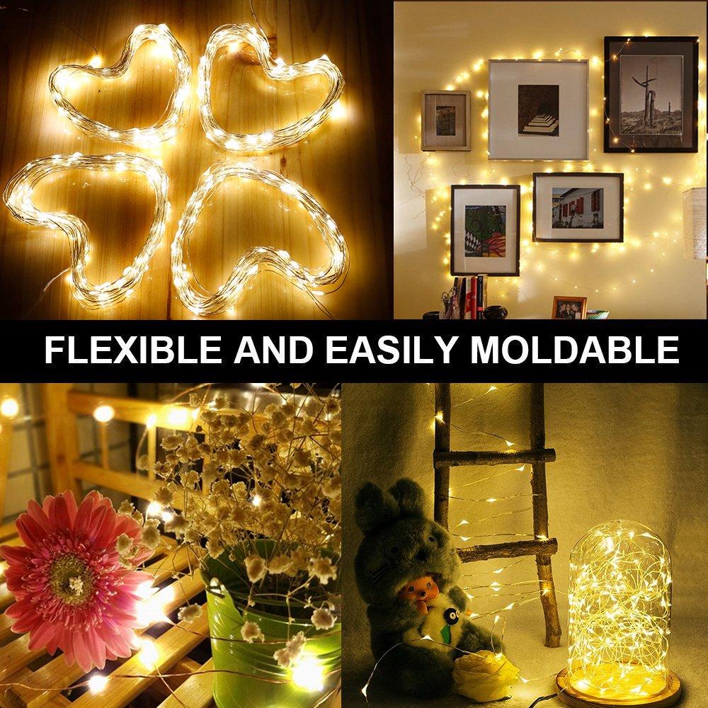 130 LEDs Kupferdraht LED Kupfer Lichterkette, Wasserdicht Sternen ...