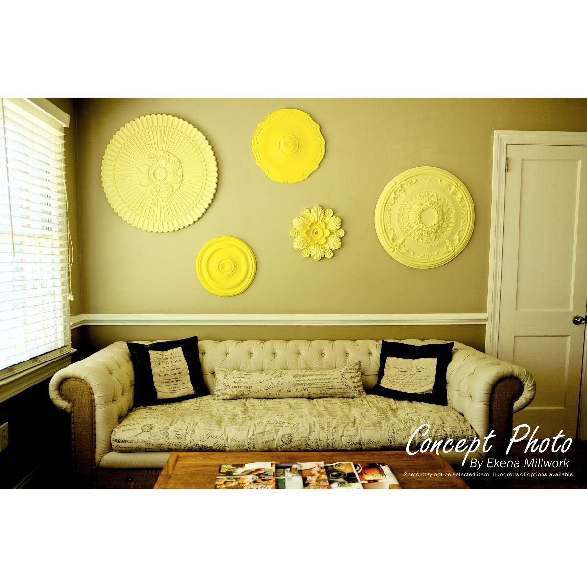Two Piece Fits Canopies up to 1 Factory Primed White Two Piece Fits Canopies up to 1 Ekena Millwork CM35X22AN2-01000 35 7//8 W x 22 1//2 H ID x 4 3//8 P Antonio Ceiling Medallion