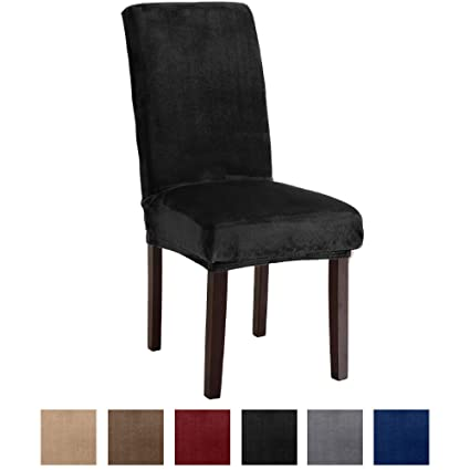 Amazon Great Bay Home Velvet Plush Dining Chair Slipcovers Washable Covers Summerhill Collection Set Of 4 Black Kitchen