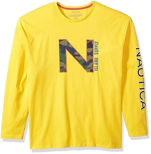 Nautica - Camiseta de Manga Larga con Cuello Redondo para Hombre ...
