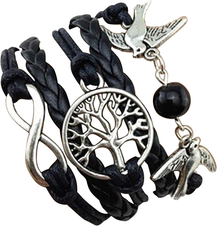 STRASS & PAILLETTES Pulseras Negras con un par de pájaros. Palomas. Árbol de la Vida. Perla de Amor. Enlace Infinito