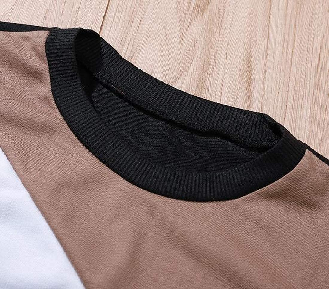Zantt Womens Crewneck Fall /& Winter Color Blocked Loose Fit Pullover Sweatshirt Top Blouse
