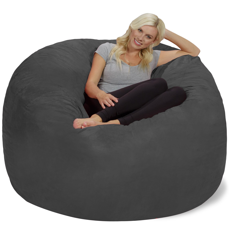 Chill Sack Bean Bag Chair: Giant 6' Memory Foam Furniture Bean Bag - Big Sofa with Soft Micro Fiber Cover, Charcoal