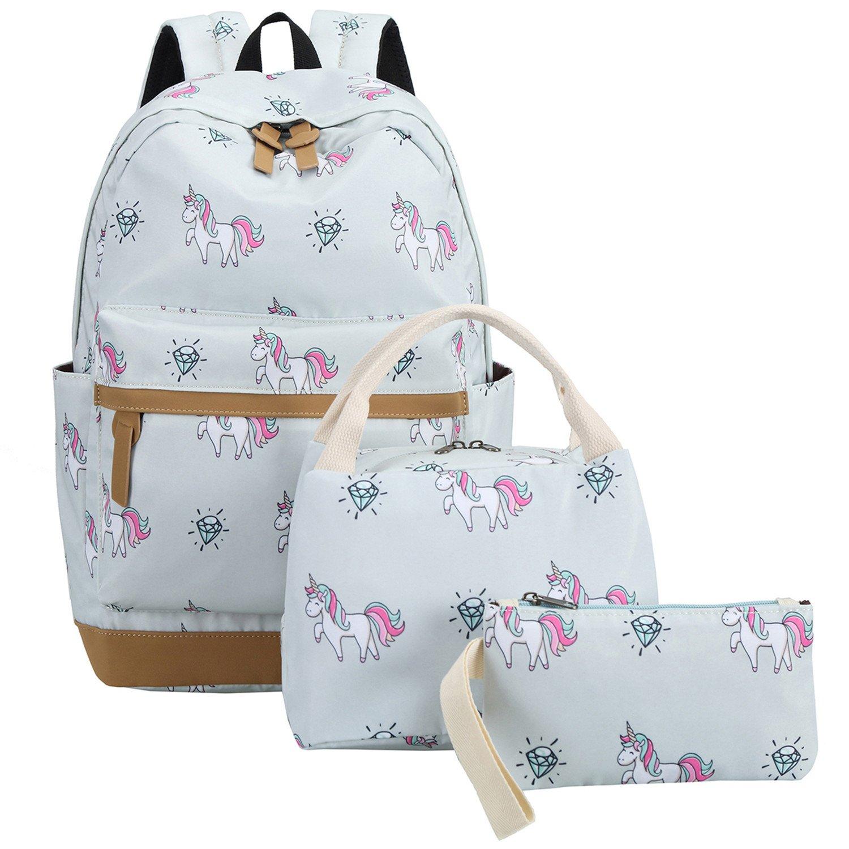 CAMTOP School Backpack for Girls Cute Teens School Bag Bookbags Set Travel Daypack (Grey/Unicorn)
