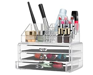 MCB Home Essentials ~ Clear Acrylic Cosmetic Jewelry and Makeup Organizer with Large 3 Drawer Chest