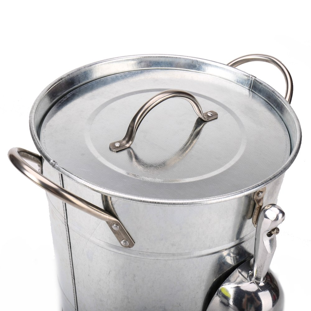 Hot Sale T586 4L Silver Metal Galvanized Double Walled Ice Bucket Set With Lid And Scoop by Home by Jackie Inc (Image #7)
