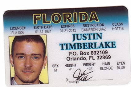 Drivers Orlando License I Social Novelty For Toys d Justin Amazon com Florida Fake Games Fans amp; Timberlake Identification The Network