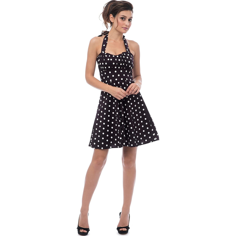 8fb474ae1c7 Amazon.com  50 s Retro Rockabilly Polka Dot Halter Dress  Clothing