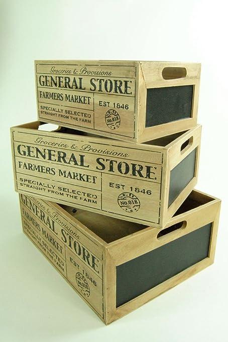 Cajas de Madera para Frutas y Verduras de Liverpool de Cuatro Estaciones, Caja de Madera con Pizarra Lateral para granjeros, Madera, Small: Amazon.es: Hogar