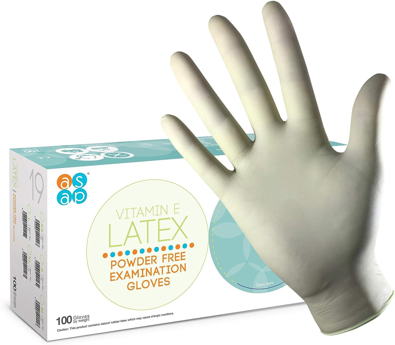 Box 100 Pastellgr/ün ASAP Latex puderfreie Handschuhe mit Vitamin E S//Klein