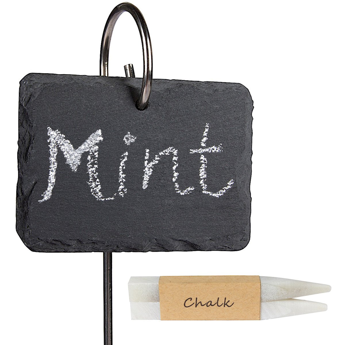 LULIND - Slate Plant Labels, Stainless Steel Stakes and 2 Chalk Pencils (10 Pack) by LULIND