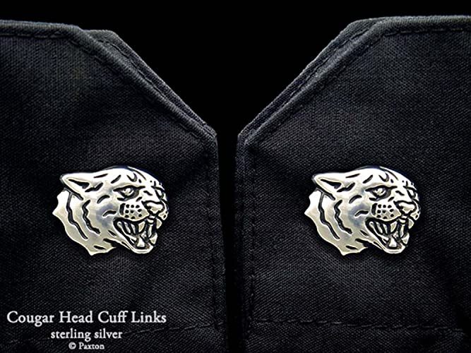 be8d82690d627 Amazon.com: Cougar Head Cuff Links in Solid Sterling Silver Hand ...