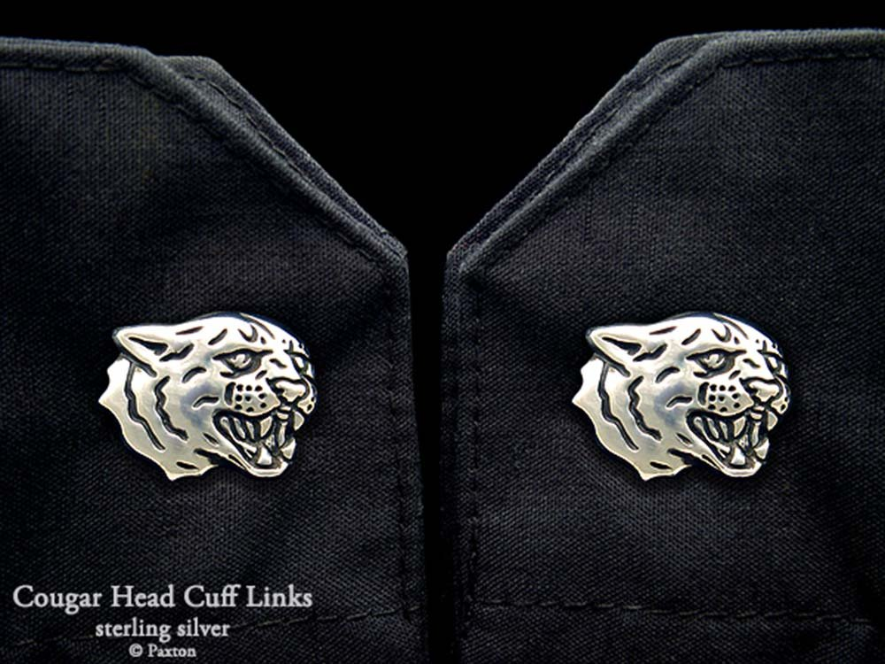 Cougar Head Cuff Links in Solid Sterling Silver Hand Carved & Cast by Paxton