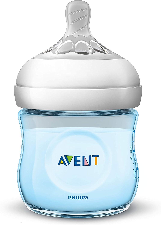 dise/ñada para imitar el tacto del pecho 0/% BPA color azul 0m+ Biber/ón de 125 ml con tetina con flujo para reci/én nacidos Philips Avent Biber/ón Natural SCF032//17