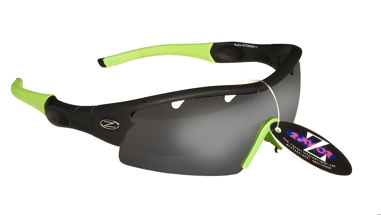 Rayzor professionali leggeri UV400 Nero Sport Wrap Tiro con l'arco occhiali da sole, con un 1 pezzo di fumo scaricato obiettivo rispecchiato. 220BKSM-LI-AR