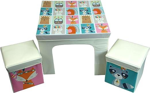 Simpa - Juego de mesa infantil y 2 sillas de almacenamiento estilo cubo, juego de muebles de