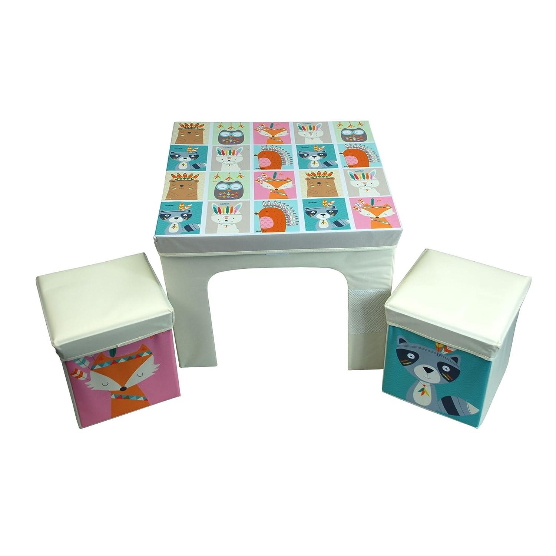 CrazyGadget® Los niños de mesa y 2 sillas de almacenamiento bin estilo conjunto de muebles brillante colorido Set Paquete Plano Plegable para niños ...