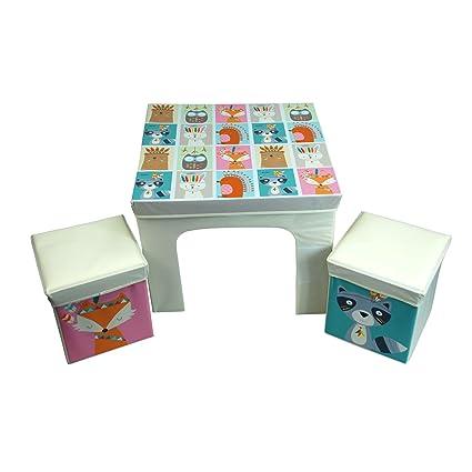 CrazyGadget® Los niños de mesa y 2 sillas de almacenamiento bin ...