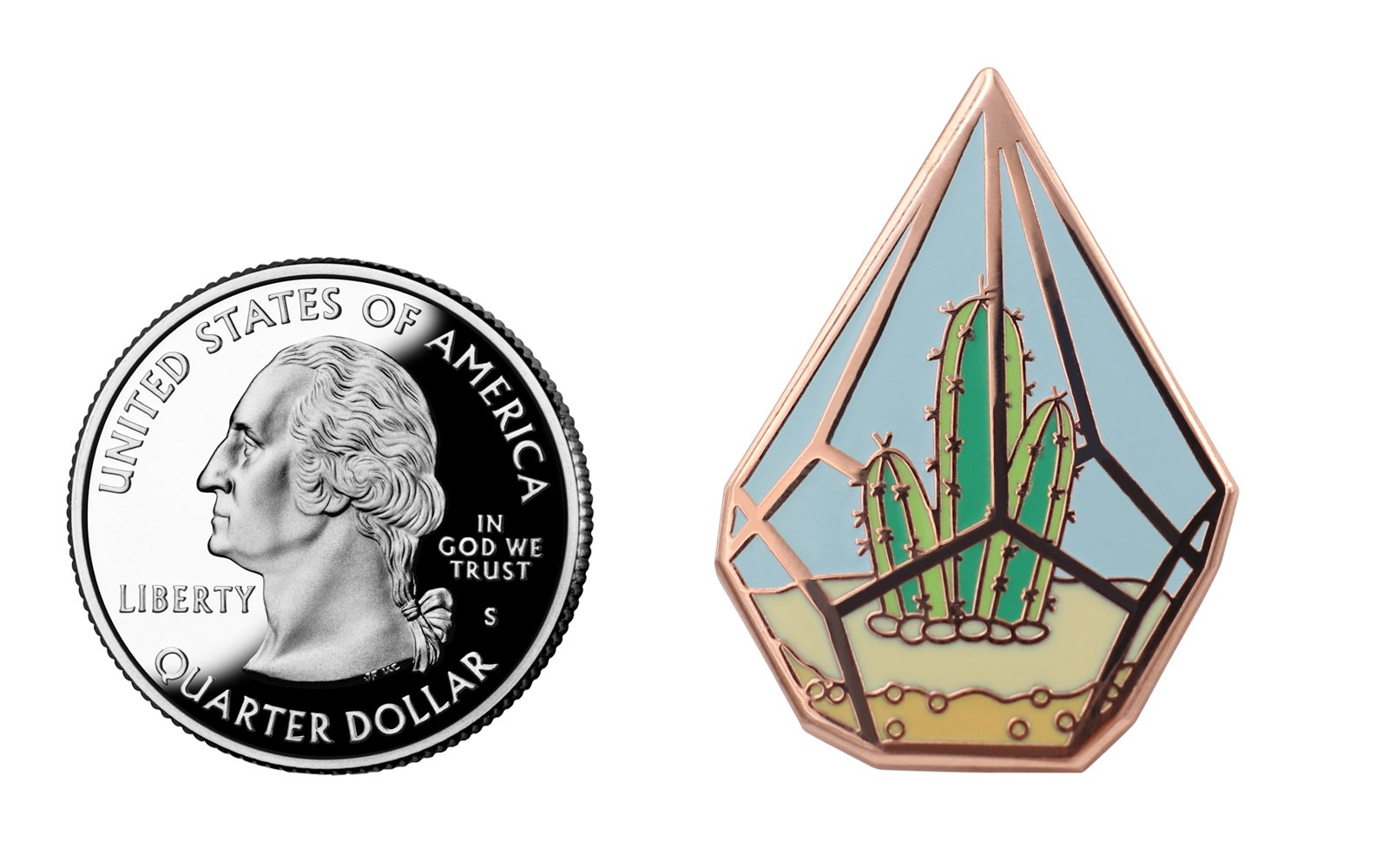 Real Sic Cactus Enamel Pin by Cute Cactus in Geometric Terrarium Lapel Pin - Premium Unisex Collection by Real Sic (Image #4)