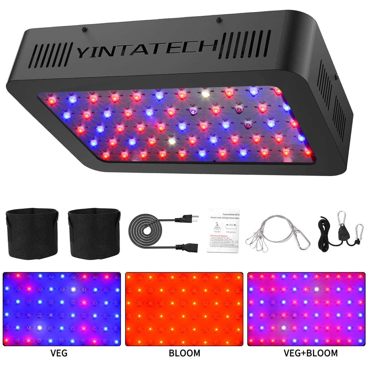 600W LED Grow Light, Growing Lamp Full Spectrum for Indoor Hydroponic Greenhouse Plants Veg and Flower with Double Switch Dual Chip, Daisy Chain, UV IR, Adjustable Rope Hanger 66pcs 10W LEDs