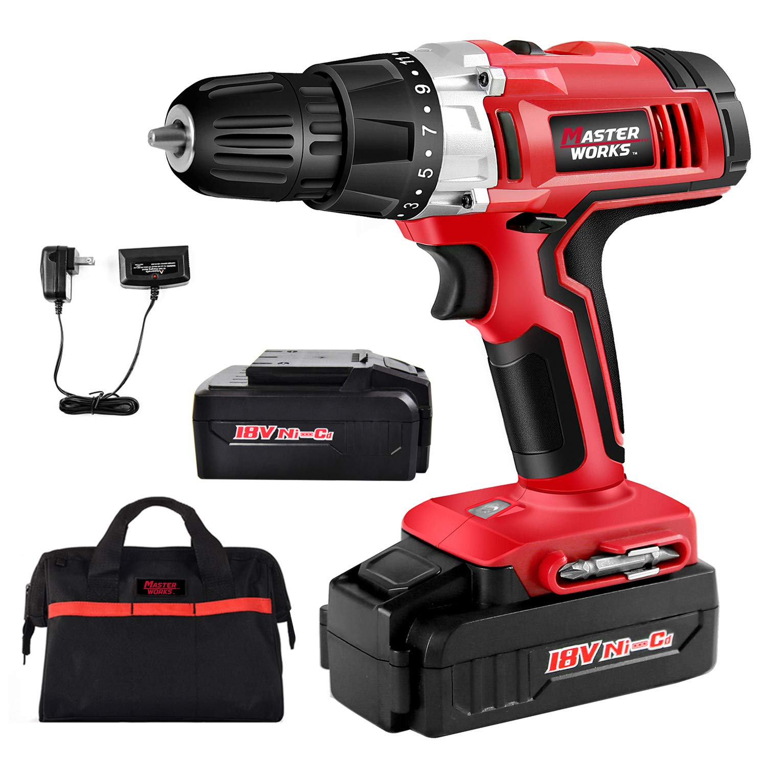 "Cordless Drill, 2 PACKS of Battery, 18V Power Drill Driver Kit with 3/8"" Keyless Chuck, Variable Speed, 265 In-lbs, 19+1 Position and LED Work Light, Masterworks MW312"